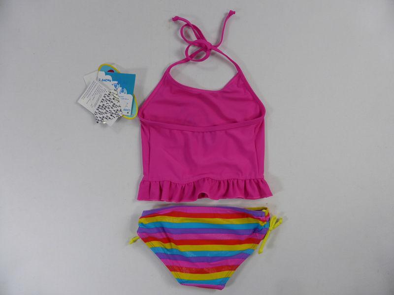 Tankini Bathers Girls Size 3-7 Pink Blue Swimwear Stripe Halter UPF50 SUNSTAR