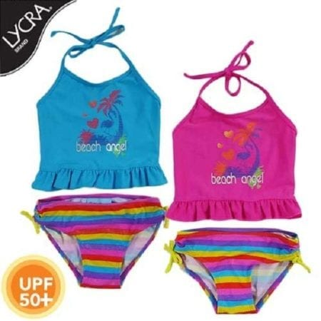Tankini Bather Girls Size 3 - 7 Pink Blue Swimwear Stripe Halter UPF50+ SUNSTAR
