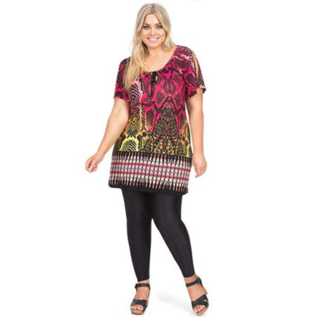 Tunic Peasant Top Black Pink AUTOGRAPH Plus Sizes 16 - 20 Women Short Sleeve