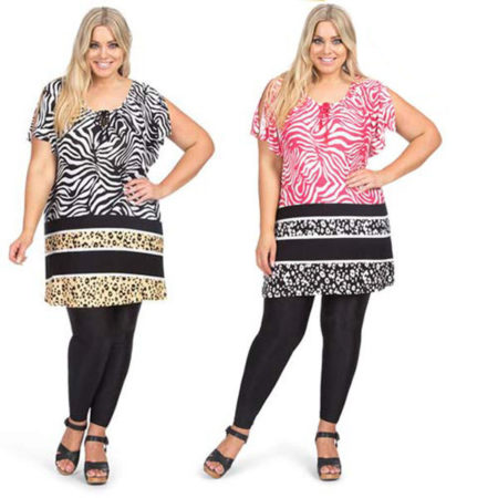 Tunic Peasant Top Black Pink Animal Print AUTOGRAPH Plus Sizes 14 - 24 Women