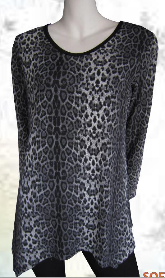 Tunic Top Grey Black Drape Plus Size 10 12 14 16 18 20 EVERSUN Leopard Animal