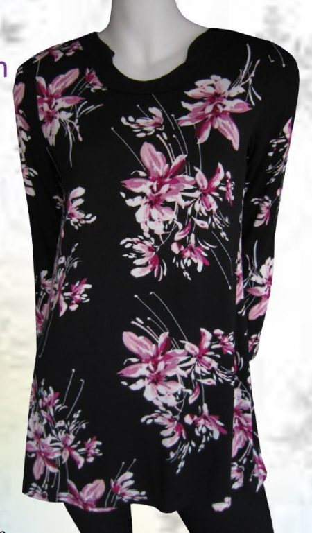 Tunic Top Pink Black Drape Plus Size 10 12 14 16 18 20 EVERSUN Floral