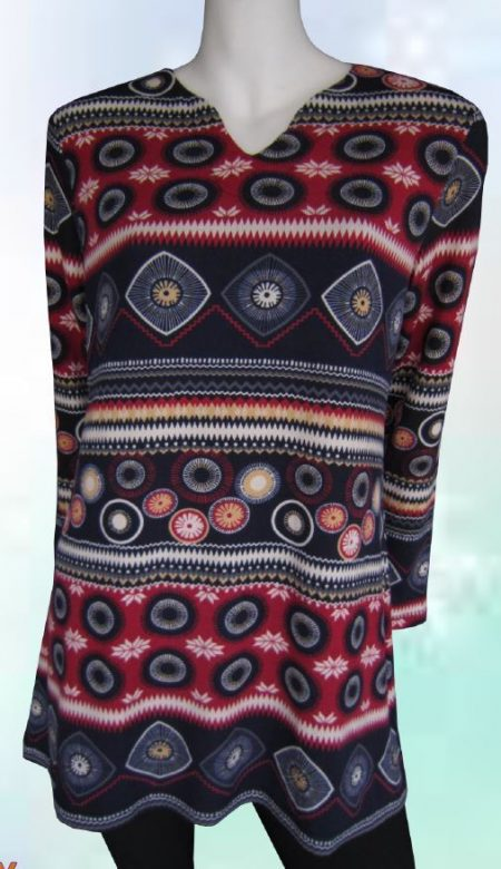 Tunic Top Red Black Drape Plus Size 10 12 14 16 18 20 EVERSUN Aztec Floral