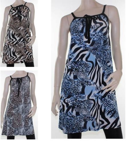 Tunic Top Sz 8 - 14 Women Blue Brown Grey Leopard  Dress Animal Print Sleeveless