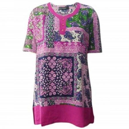 Tunic Top by EVERSUN Plus Size 10 12 14 16 18 20 Pink Paisley Print