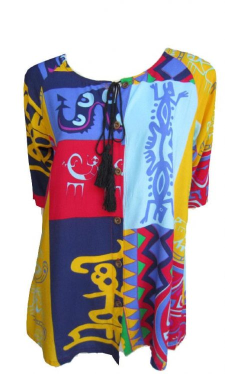 Tunic Top by EVERSUN Plus Size 10 12 14 16 18 20 Purple Yellow Abstract Print