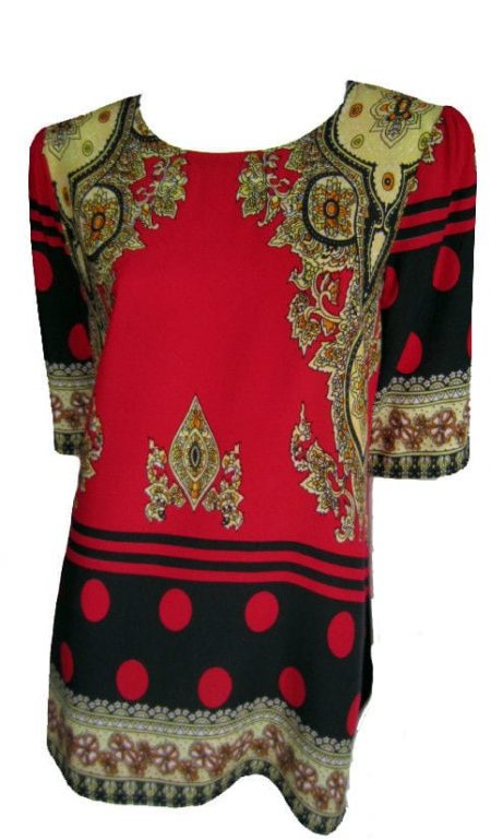 Tunic Top by EVERSUN Plus Size 10 12 14 16 18 20 Red Black Paisley Print