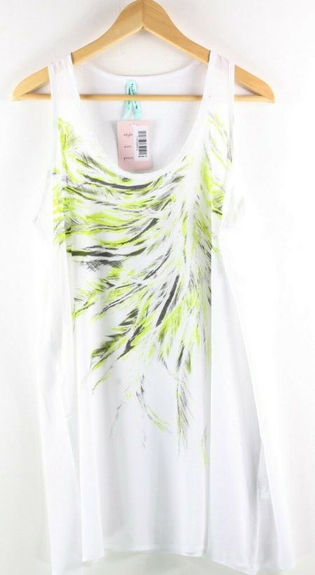 Tunic Top by LUSHOUS Drape Blouse Dress Layering Size 8 10 12 White Feather