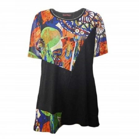 Tunic Top by SUN ROSE Plus Size 14 16 18 20 22 24 Black Orange Abstract Print