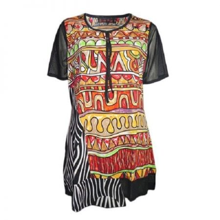 Tunic Top by SUN ROSE Plus Size 14 16 18 20 22 24 Black Red Orange Green Print