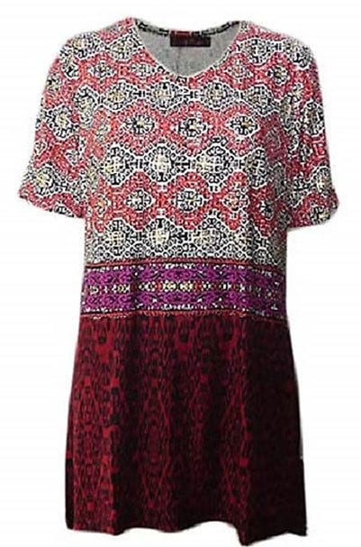 Tunic Top by SUN ROSE Plus Size 14 16 18 20 22 24 Red Gold Modern Print