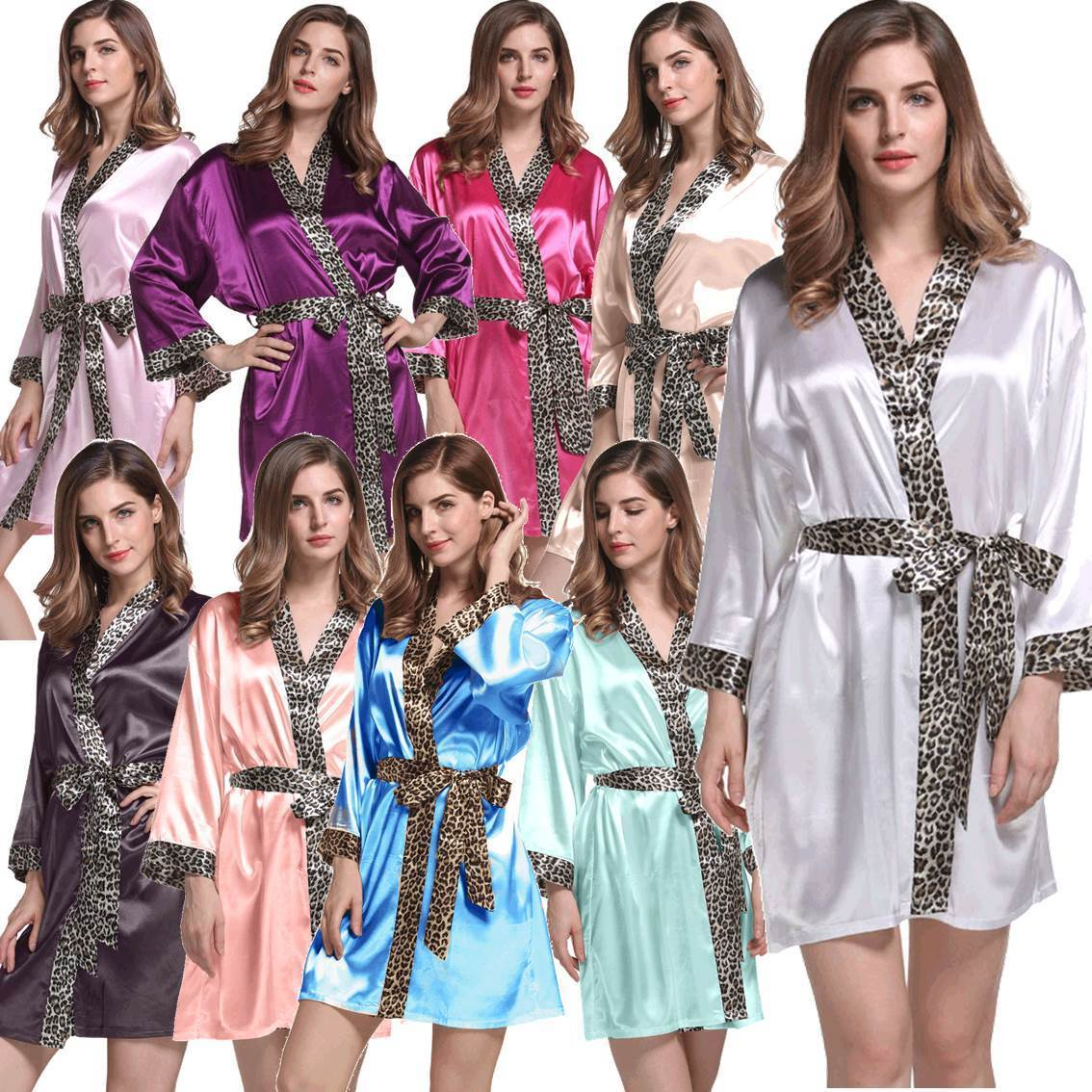 720ef1b682 Bridal Party Robes Leopard Trim Satin Kimono Gowns